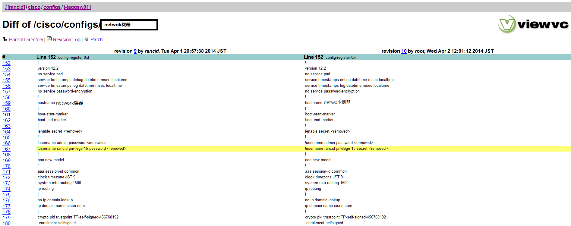 RANCID】NW機器コンフィグ差分管理ツールをインストール | GOISBLOG